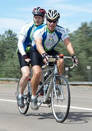 "Image of Frederick M. Dudek and blind cycling partner during the 200 mile 2010 ""Cycling For Sight"" San Diego fundraising tour"