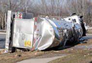 Photo of a turned oved semi